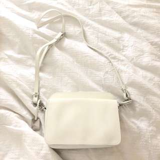 White leather country road bag