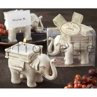 ED18043 LUCKY ELEPHANT IVORY CANDLE HOLDER