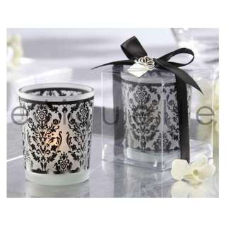 ED18046 DAMASK FROSTED GLASS CANDLE HOLDER
