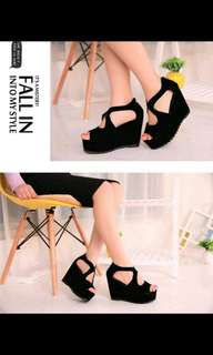 PO Black suede platform wedges * waiting time 12days after payment is made *pm if int