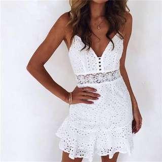 (More cols) Free people inspired Lattice summer swing Dress
