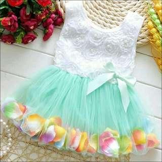 Toddler Kids Dot Bowknot tutu Dress Baby Girls flower Bubble Gown