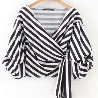 Covet stripes balloon sleeve Wrap blouse