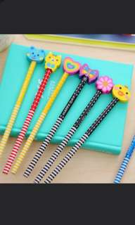 Fanciful pencils with cute eraser attached