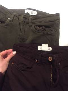 2 Coloured jeans size 4