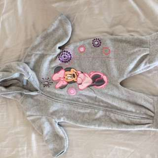 Disney Minnie Mouse Fleece coverall sleeper gray pink 9 months