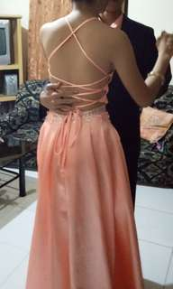 Peach Backless Gown/ Rent