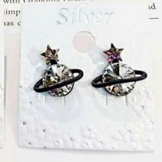 🚚 粉星耳針式耳環