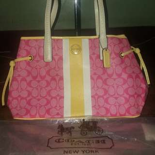 Coach hot pink carry all tote bag