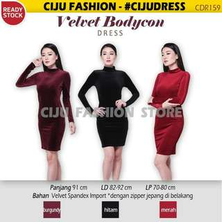 Velvet bodycon dress turtleneck CDR15