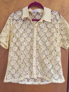 Yellow Rose Lace Button Up