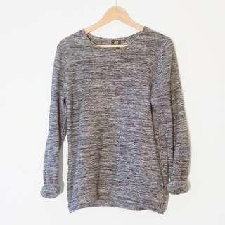 Grey heather knit sweater