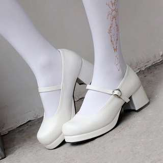 BLACK Cosplay Maid Lolita Shoes