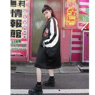 【黑店】原創設計 百鬼夜行 訂製款重工刺繡長版棒球外套 日本暴走族長版外套