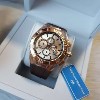 Authentic TechnoMarine Tm-115217 Cruise Men's 45mm Star Chronograph Rose-tone Brown Watch
