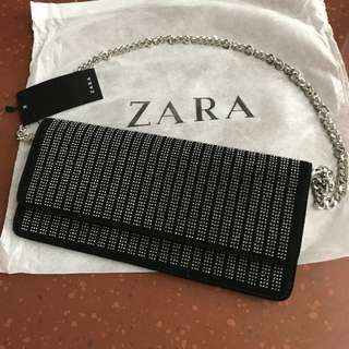 ZARA SPARKLY CLUTCH BAG ORIGINAL FULL EMBOS / TAS PESTA IMPORT