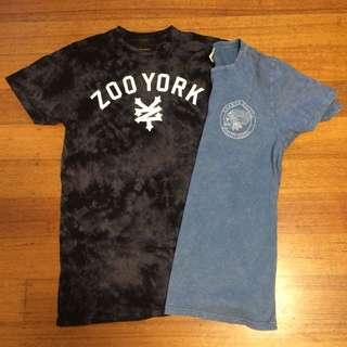 2x Medium Long Line T-Shirts