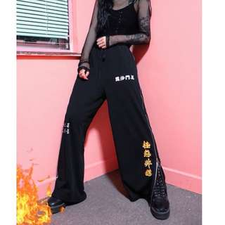 【黑店】原創設計 日本暴走族 個性印花漢字 日本暴走族鬆緊帶寬鬆寬褲 情侶褲