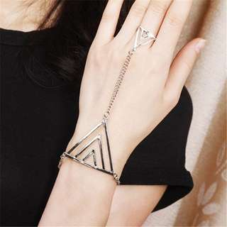 Geometric Triangle Bracelet Chain Link Ring