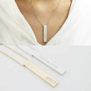 [PREORDER] Custom Engraved Personalised Thick Bar Necklace