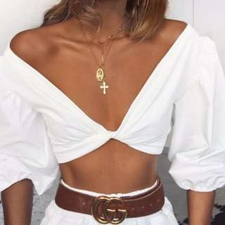 TIGERMIST WHITE TWIST CROP TOP. SIZE SMALL. Brand new - never been worn!