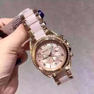 Michael Kors Bradshaw Chronograph Pink Dial Gold Stainless Steel Womens Watch MK6359