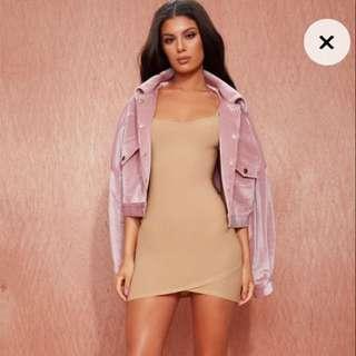 PLT Camel Strappy Wrap Skirt Bodycon Dress