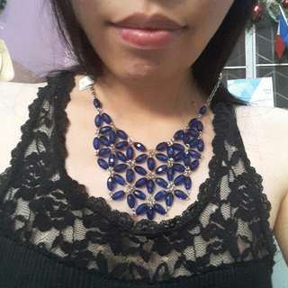 Royal Blue Beads statement necklace