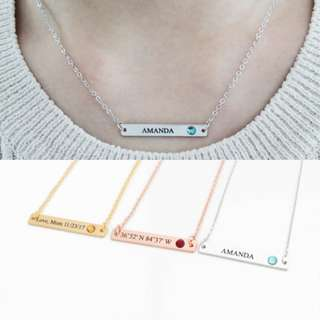 [PREORDER] Custom Engraved Personalised Name Birthstone Bar Necklace