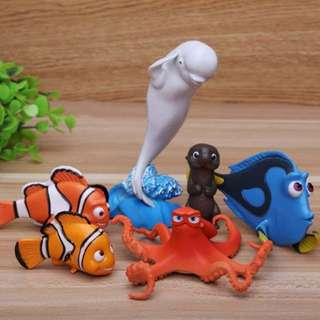 6 pcs Finding Dory Nemo Cake Topper Figurine Toy Cupcake Fondant Toppers