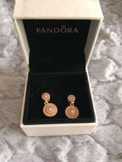 Authentic Pandora Rose gold round drop earrings