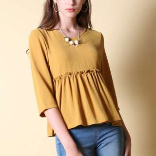 The Stage Walk TSW Tracie Babydoll Ruffles Top (Mustard)