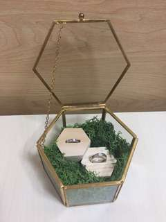 透明金邊復古六角形戒子盒/飾物盒