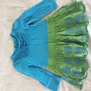 Olive green Turquoise dress USA eyelit 9-12 months