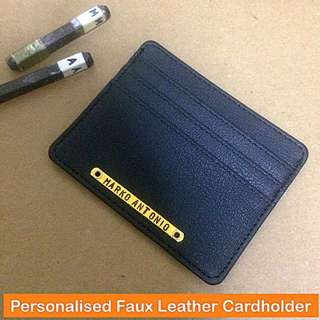 Personalised Faux Leather Cardholder [good man-made / synthetic leather; good workmanship; rivet mount nameplate wordplate unisex gifts handmade uncle.anthony uncle anthony uac] FOR MORE PHOTOS & DETAILS, GO HERE: 👉 http://carousell.com/p/145606065