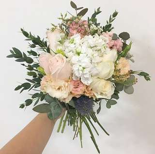 Bridal Bouquet in Pastel Rustic Theme / Roses Matthiola Eucalyptus Leaves