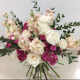 Garden Style Rustic Pink Bridal Bouquet / Wedding Flower Package