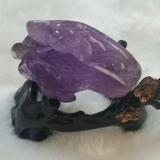 紫水晶白菜雕件含底座