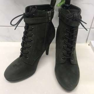 Green lace up boots