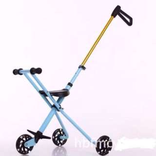 Gold & Light Blue Portable Foldable Easy to Carry Stroller Trolly Bike WITH FREE BABY KNEE PADS