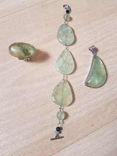 A set of Prehnite jewellery