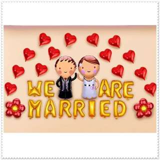 Wedding Proposal Foil Balloons Decor / We are Married / Anniversary Mylar Balloons / Foil Balloons