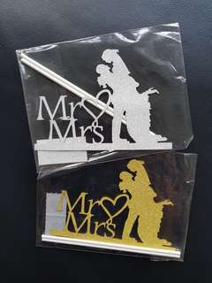 Mr Mrs wedding/party cake topper