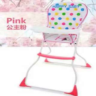 Pink Polka Dots Folding High Chair