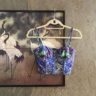 H&M Purple and Blue Printed Corset