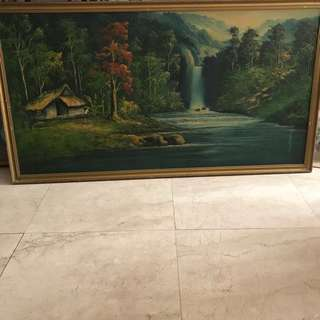 A wooden Framed without glass Landscape Oil Painting-154cm x 84cm