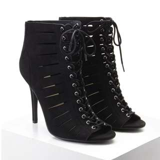 Forever 21 Caged Lace-Up Stilettos