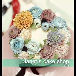 韓式花花蛋糕 擬真鮮花 玫瑰花