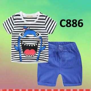 C886 Setelan AB Shark Stripe