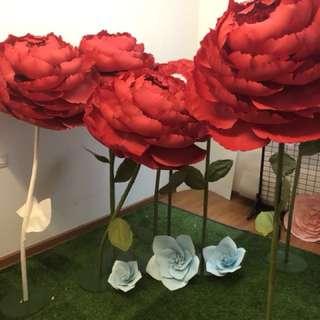 Red Big Paper Flower Peony